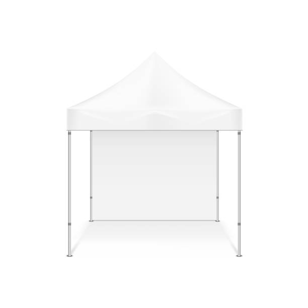 Folding tent. Illustration isolated on white background Folding tent. Illustration isolated on white background. Graphic concept for your design pavilion stock illustrations