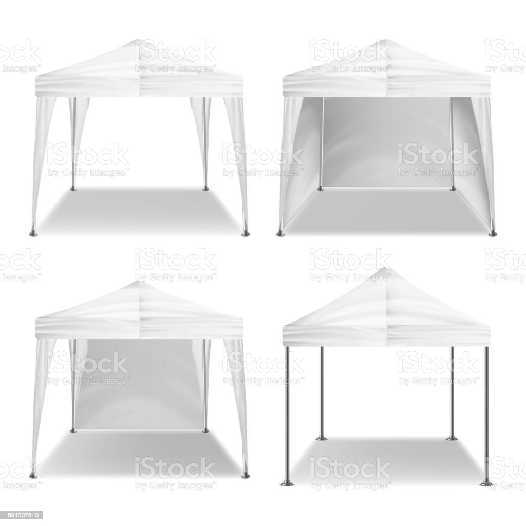 Folding Tent Outdoor Pavilion Set Vector. Realistic Template Blank. Promotional Outdoor Event Trade Show Pop-Up White Tent Mobile Marquee, Template. Product Advertising. Vector Illustration vector art illustration