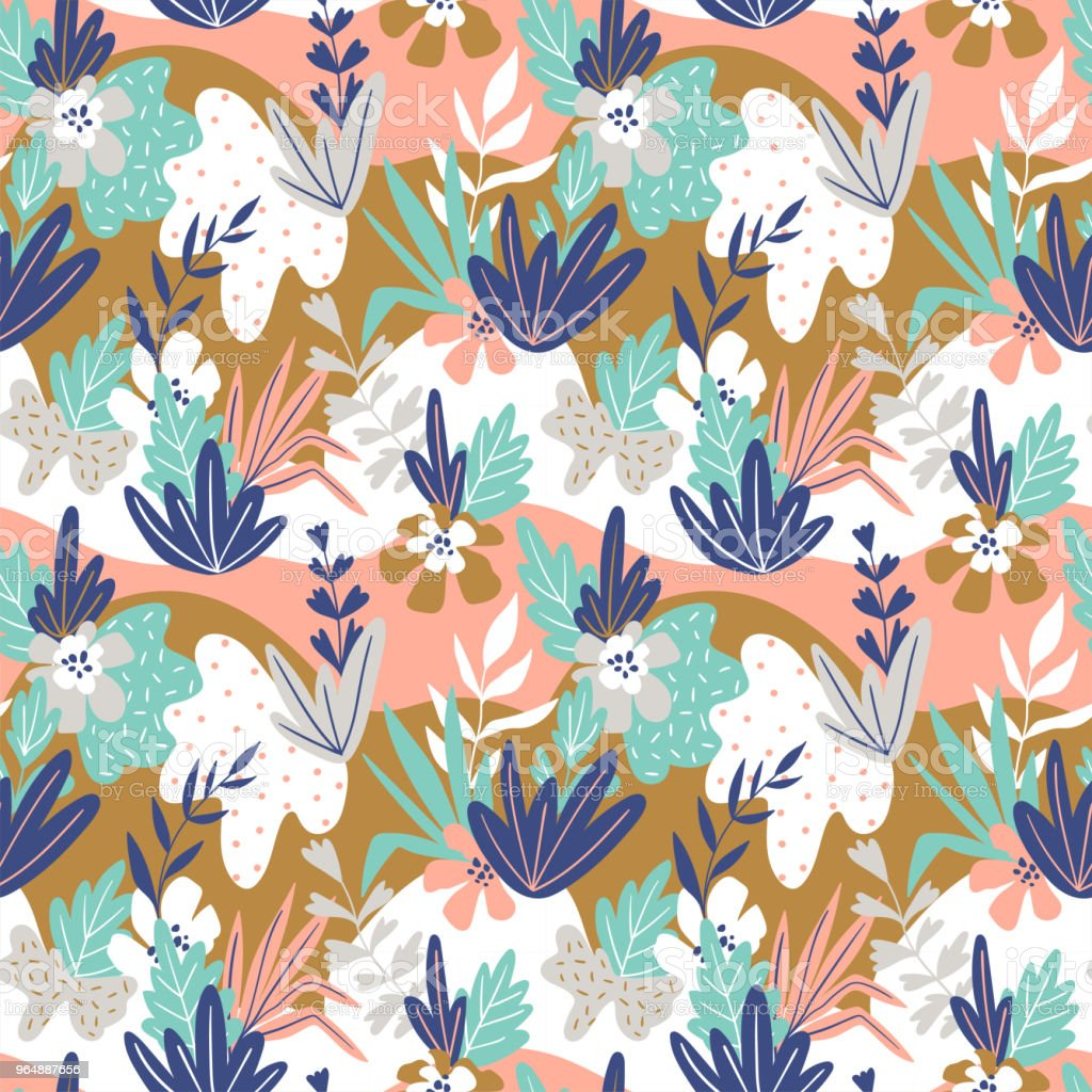 Foliage graphic seamless patterns. Vector floral texture with hand drawn abstract flowers and leaves. Background with colorful doodle floral elements. royalty-free foliage graphic seamless patterns vector floral texture with hand drawn abstract flowers and leaves background with colorful doodle floral elements stock vector art & more images of abstract