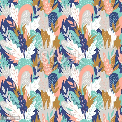 Foliage graphic seamless patterns. Vector floral texture with hand drawn abstract flowers and leaves. Background with colorful doodle floral elements.