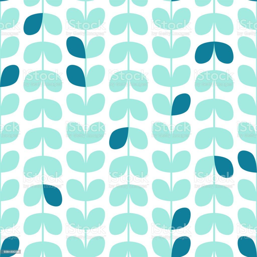 葉のパターン北欧風のシームレス テクスチャです白い背景の植物の壁紙