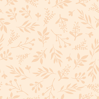 Foliage seamless vector background. Beige leaves background. Limited color palette. Abstract nature leaf pattern. Autumn fall Doodle leaf print. Thanksgiving, Seasonal fabric, November, card, paper