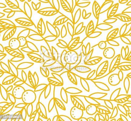 istock Foliage tree pattern background. Orange or tangerine the fruit leaves. Orange colour line contour. Sketch vector Illustration hand-drawn. 1276458601