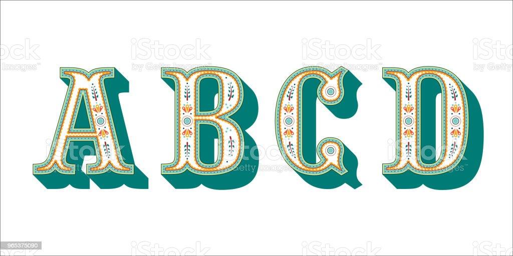 민속 알파벳 장식 꽃 편지 A B C D - 로열티 프리 교육 벡터 아트