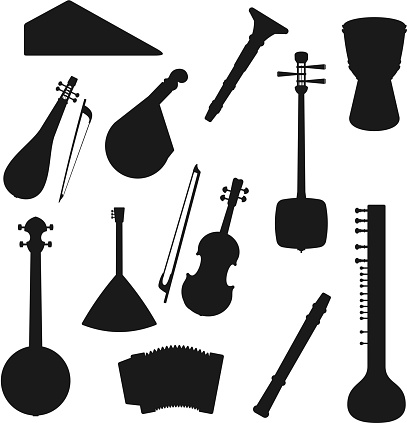 Folk and classic music instrument silhouettes
