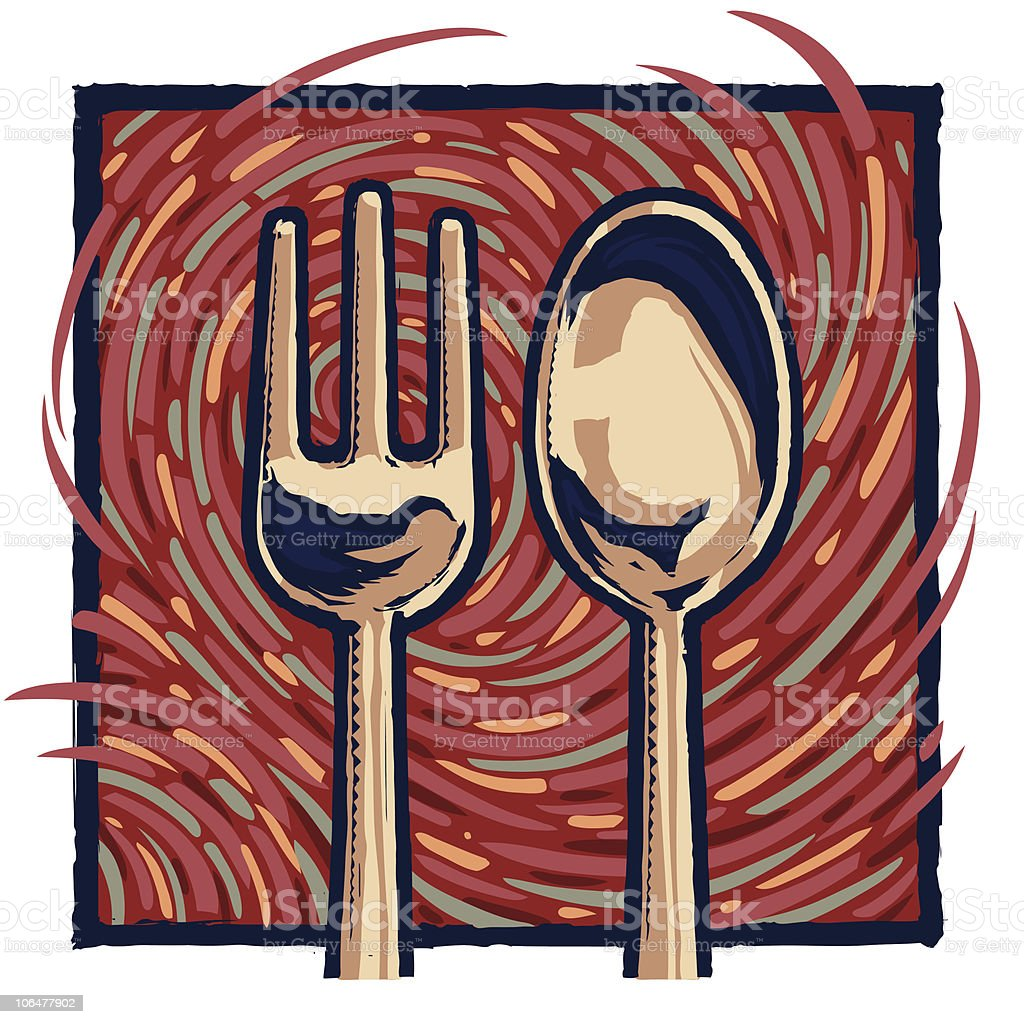 folk and spoon royalty-free folk and spoon stock vector art & more images of cafe