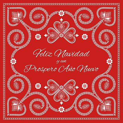 Folk art Christmas card vector template. Feliz Navidad y un Prospero Ano Nuevo - Merry Christmas and Happy New Year in spanish