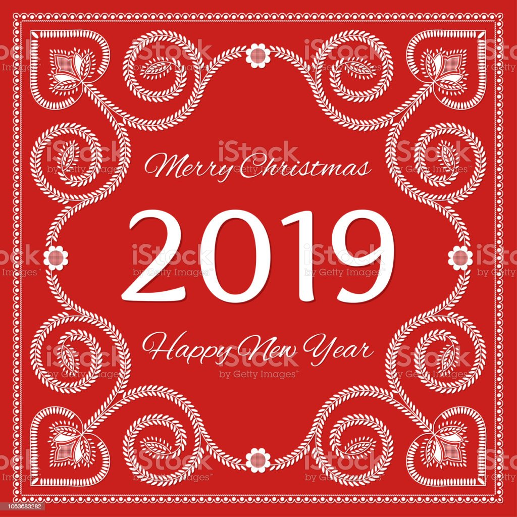folk art christmas card vector template merry christmas and happy new year 2019 royalty