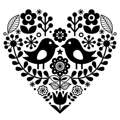 Folk art floral pattern - Finnish, Valentine's Day