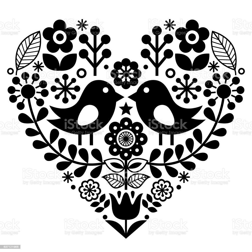 Folk art floral pattern - Finnish, Valentine's Day vector art illustration