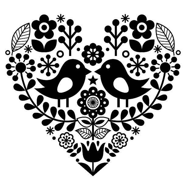 Folk art floral pattern - Finnish, Valentine's Day - ilustración de arte vectorial