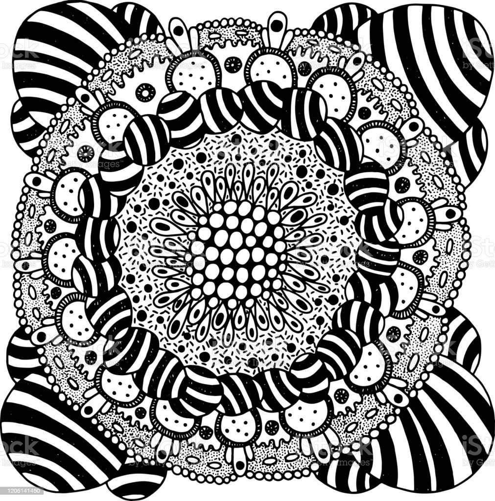 Folk Art Flower Mandala Psychedelic Art Coloring Page For Adults