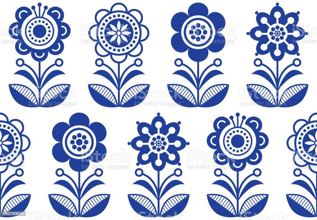 Folk Art Flowers Seamless Vector Floral Pattern Scandinavian Navy