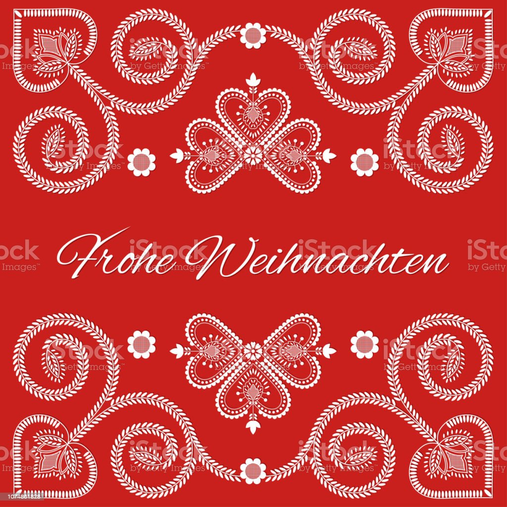 How Do You Say Merry Christmas In German.Folk Art Holiday Card Vector Template Frohe Weihnachten