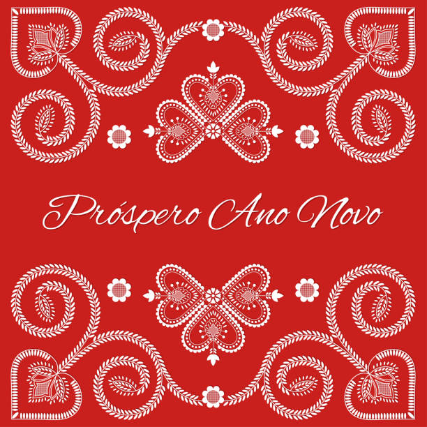 Folk art Holiday card vector template. Prospero Ano Novo - Happy New Year in Portuguese language. Season red background with ornaments design. Folk art Holiday card vector template. Prospero Ano Novo - Happy New Year in Portuguese language. Season red background with ornaments design. ano novo stock illustrations