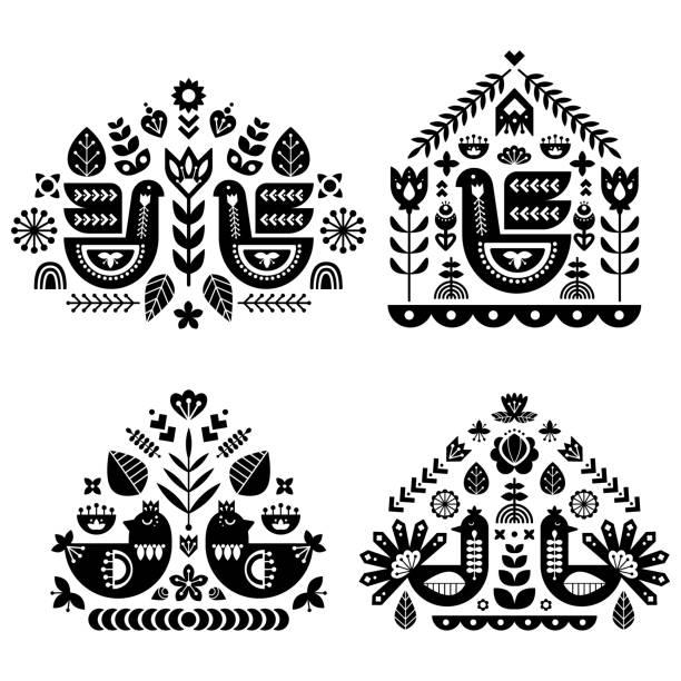 bildbanksillustrationer, clip art samt tecknat material och ikoner med allmoge mönster samlingen med fyra enda mönster. monokrom dekorativa sammansättning med fågel och blommiga inslag. nordisk stil. vector mallar designuppsättning. - swedish nature
