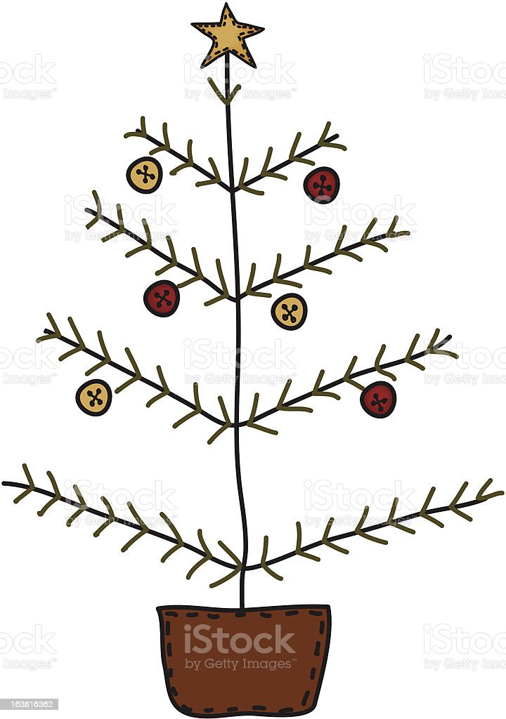 Primitive Christmas Tree.Folk Art Primitive Christmas Tree Stock Illustration