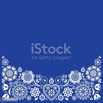 istock Folk art retro vector greeting card design, floral ornament inspired by Scandinavian art in white on navy blue 1310421834