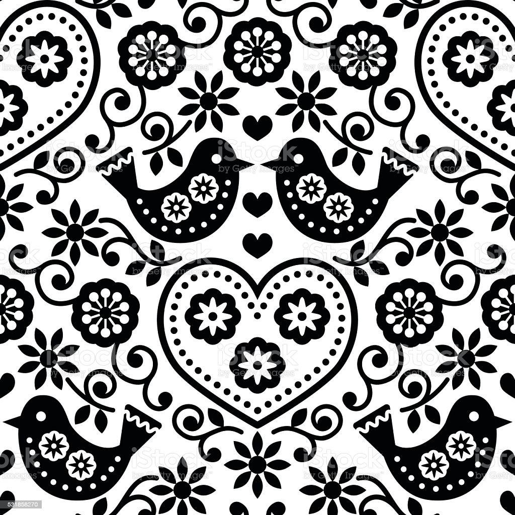 Arte folclórica monocromático sem costura padrão com pássaros e flores - ilustração de arte em vetor