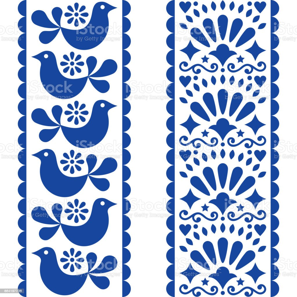 Folk art seamless pattern - Mexican style long stripes design with birds and flowers in navy blue royalty-free folk art seamless pattern mexican style long stripes design with birds and flowers in navy blue stock vector art & more images of 15th birthday