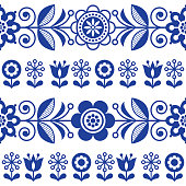 Folk art seamless vector pattern with flowers, navy blue floral repetitive design - Scandinavian style