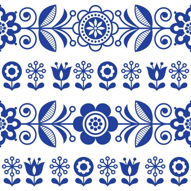 illustrations, cliparts, dessins animés et icônes de modèle vectorielle continue art populaire avec dessin floral répétitives de fleurs, bleu marine - style scandinave - suede