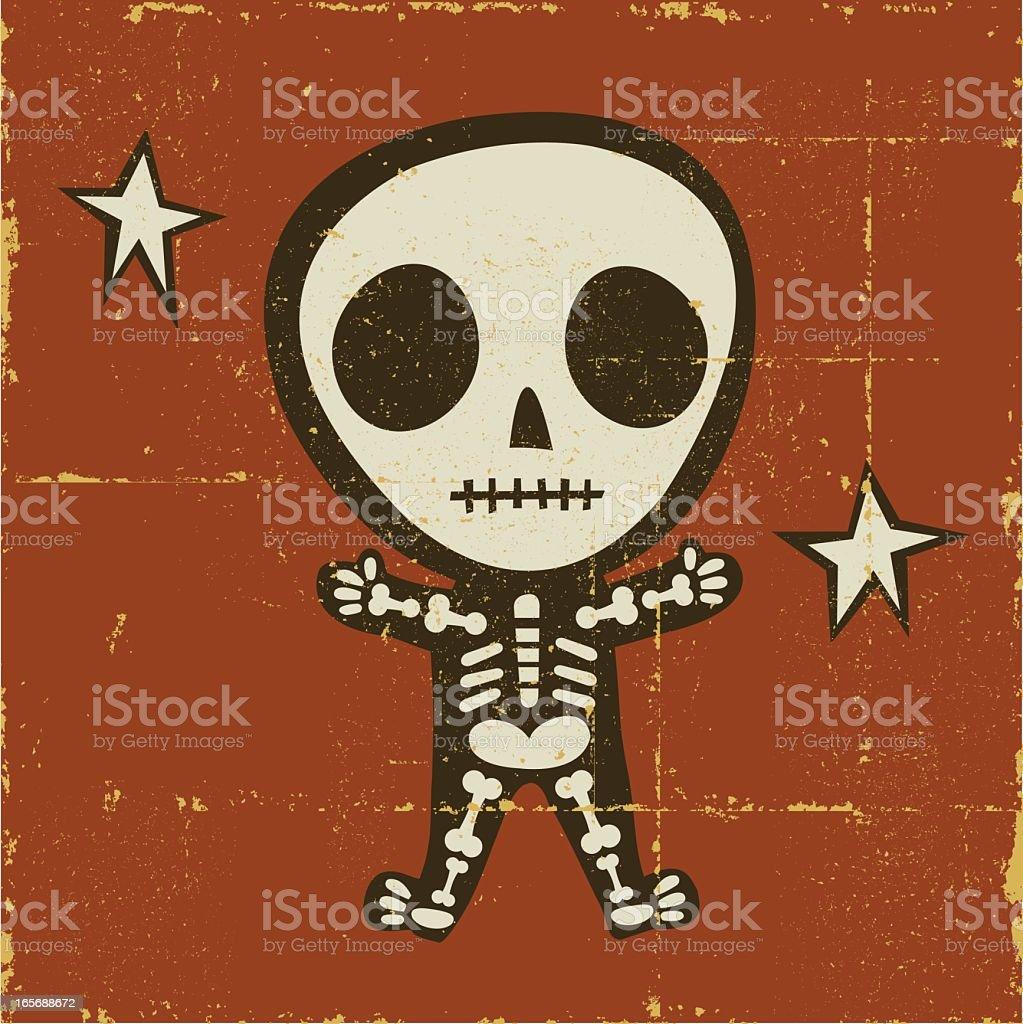 Folk Art Skeleton vector art illustration