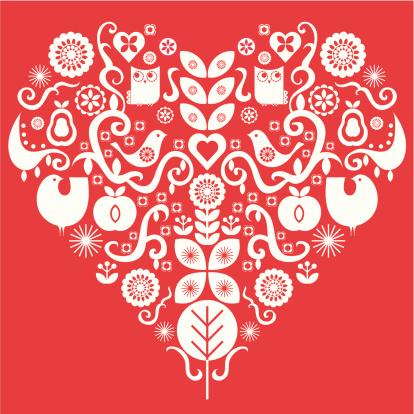 Folk art valentines heart