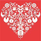 Folk art valentines heart design.