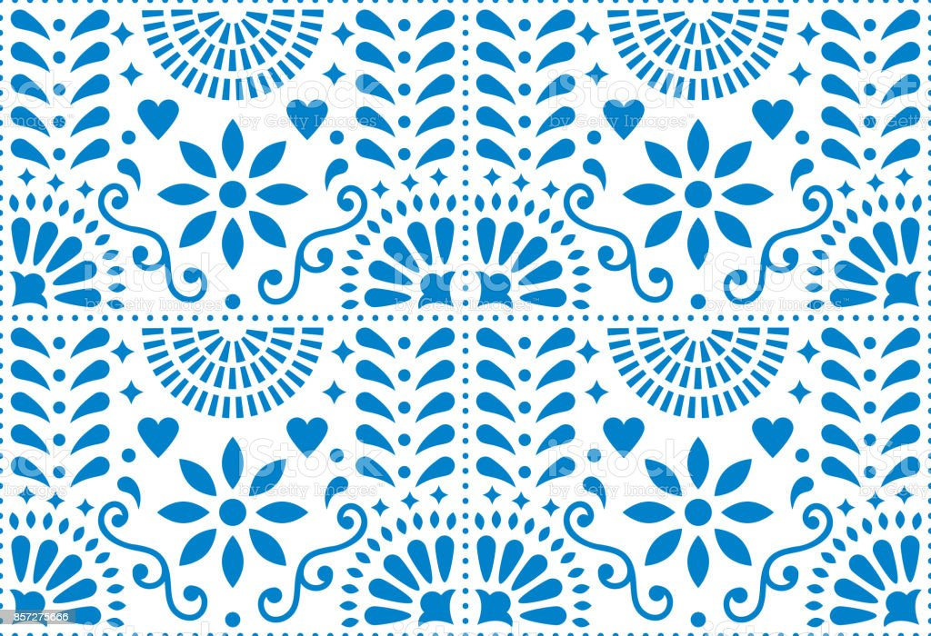 Folk art vector seamless pattern, Mexican blue design with flowers inspired by traditional art form Mexico vector art illustration