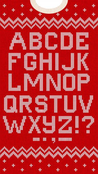 folk christmas font scandinavian style knitted letters alphabet seamless pattern - alphabet backgrounds stock illustrations