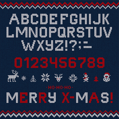 Folk Christmas Font Scandinavian style knitted letters alphabet seamless pattern