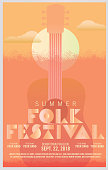 Folk festival art deco style poster design template with guitar and sun. Fully editable.
