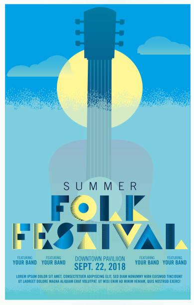 illustrazioni stock, clip art, cartoni animati e icone di tendenza di folk festival art deco style poster design template - concerto