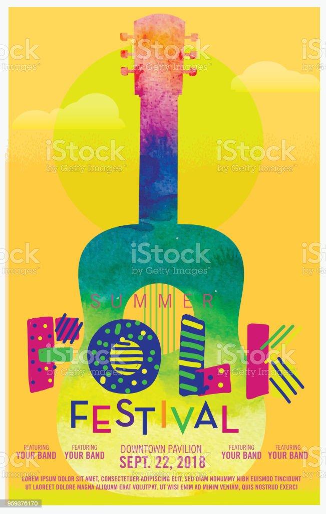 Folk festival watercolor texture poster design template vector art illustration