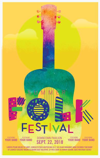 bildbanksillustrationer, clip art samt tecknat material och ikoner med folkmusik festival akvarell textur affisch designmall - traditionell festival