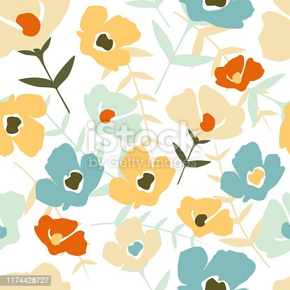Folk floral seamless pattern on white background. Modern abstract little flowers and leaves endless wallpaper. Botanical background. Trendy fabric design, wrapping paper. Vector illustration