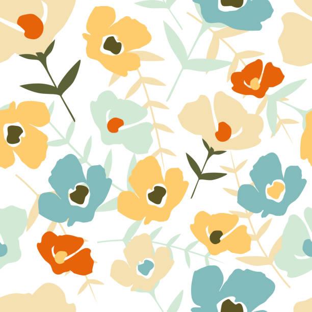 白い背景にフォークフローラルシームレスパターン。現代の抽象的な小さな花と葉 - ボタニカル点のイラスト素材/クリップアート素材/マンガ素材/アイコン素材