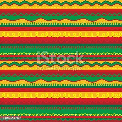 istock Folk hand drawn stripes rug seamless pattern 1154654762