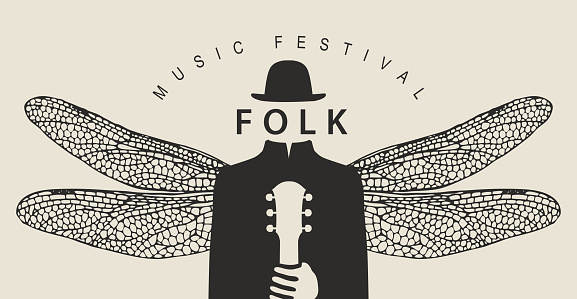 folk music festival poster with a winged person