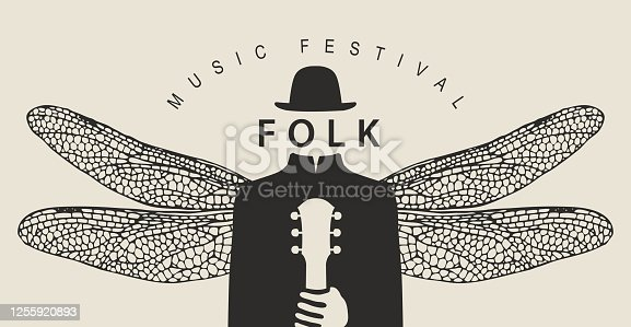 istock folk music festival poster with a winged person 1255920893