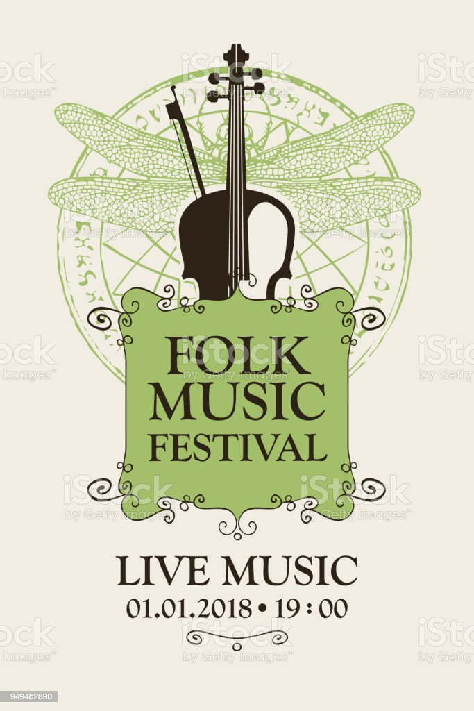 Folk Music Festival Poster With Violin And Bow Stock Vector Art