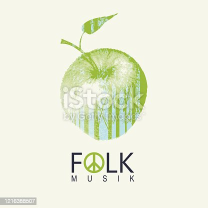 Vector poster or cover on the theme of a folk music decorated with green apple and silhouettes of trees on a light background. Music collection