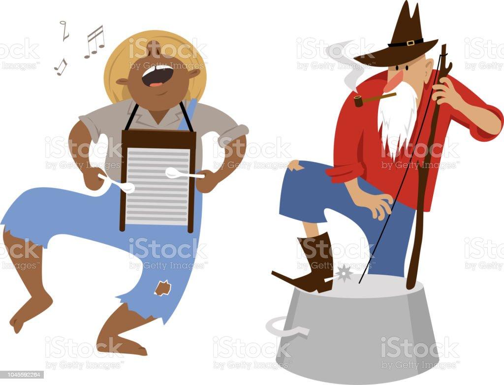 Folk musicians vector art illustration
