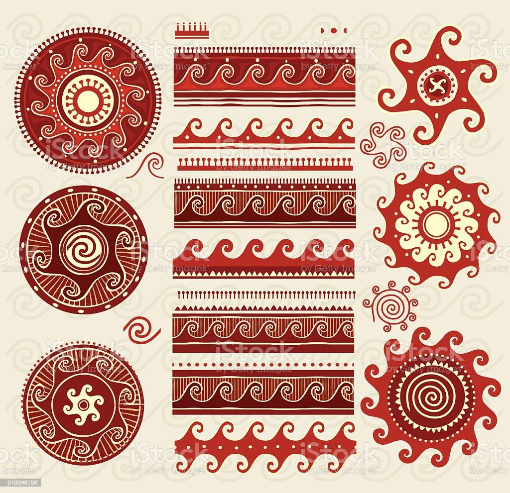 Folk ornaments elements vector art illustration
