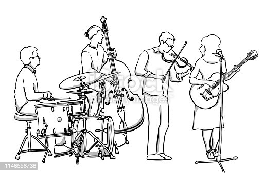 Folk rock band with young musicians making original music together