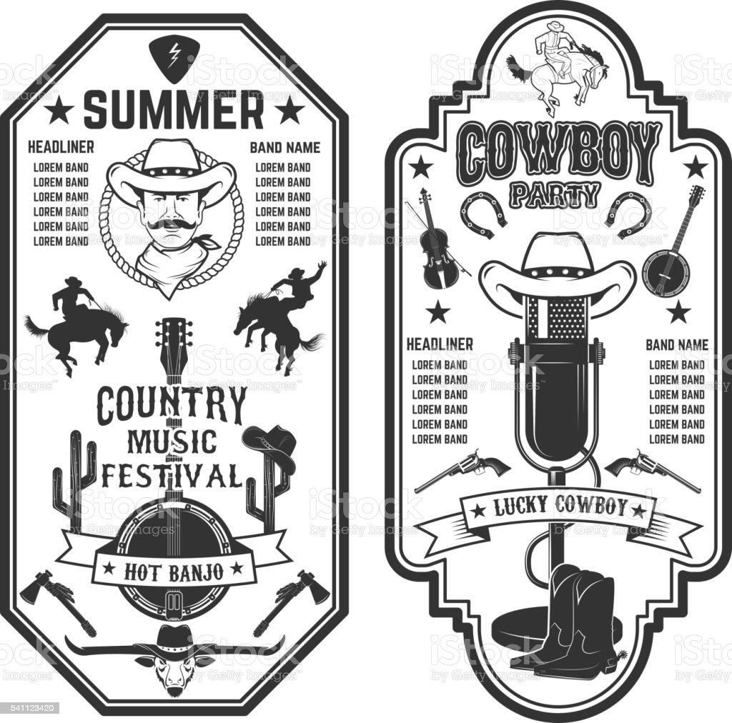 Folk rock party. Summer country music festival flyer template. vector art illustration
