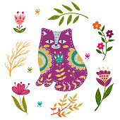 Folk set vector colorful illustration with beautiful cat and flowers. Scandinavian style