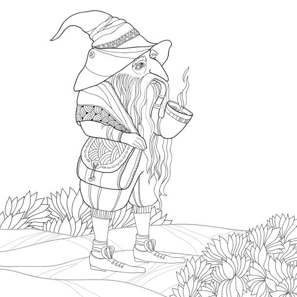 folklore character. gnome in contour style for coloring book. - old man smoking pipe drawing stock illustrations, clip art, cartoons, & icons