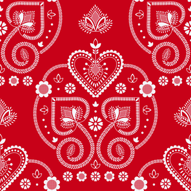 ilustrações de stock, clip art, desenhos animados e ícones de folklore floral nordic scandinavian pattern vector seamless. ethnic ornament white red background. design for holiday fabric, gift wrapping paper, decoration print, party invitation backdrop. - viana do castelo
